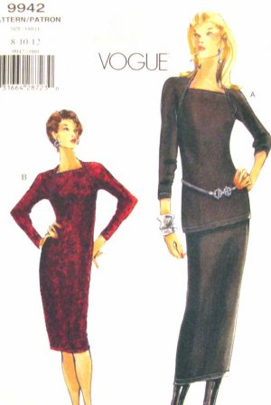 V9942 New Sewing Pattern Misses' Vogue Dress Tunic Skirt Raglan Size 8 10 12