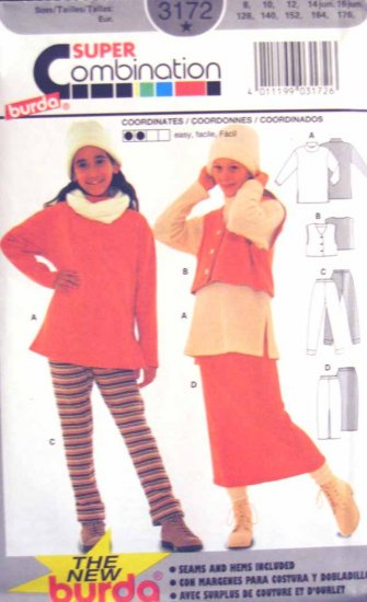 Burda 3172 New Sewing Pattern Kid Girls Child Top Vest Pant Skirt Size 8 10 12 14 16