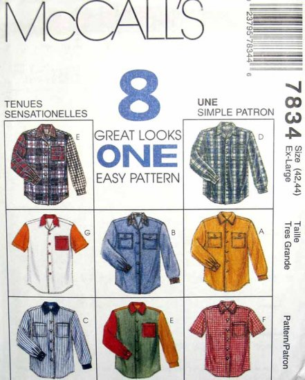 M7834 New Sewing Pattern Misses' Unisex Men Teen Classic Shirt Chest Size 31-32