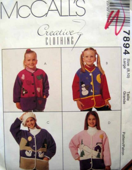 M7894 New Sewing Pattern Girl's Child Jacket Applique Seasonal Fleece size 8 10