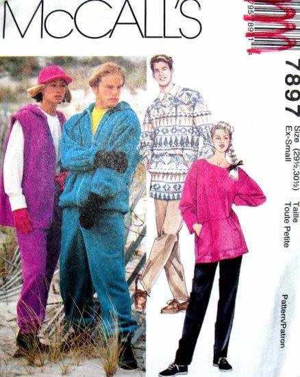 M7897 Sewing Pattern Misses' Men's Teen Unisex Jacket Pants Tunic Sweater Fleece Knit Size XS S