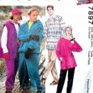 M7897 Sewing Pattern Misses' Men's Teen Unisex Jacket Pants Tunic Sweater Fleece Knit Size XS S