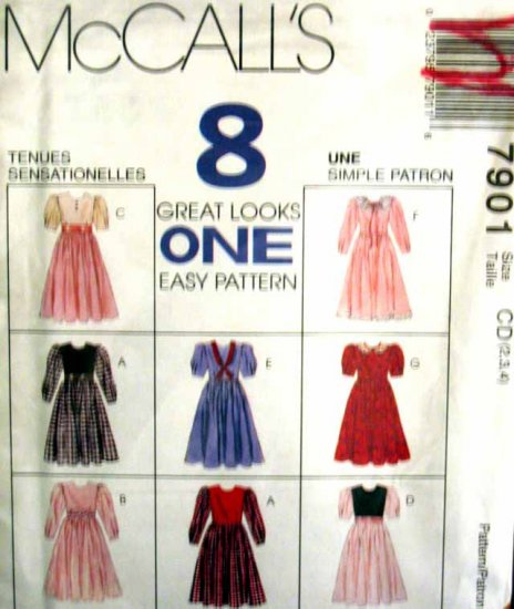 M7901 New Sewing Pattern Child Girl Dress Vary Options size 4 5 6