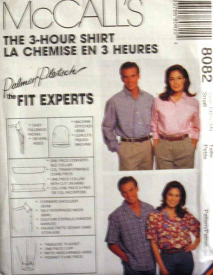 M8082 New Sewing Pattern Misses' Men's Teen's Classic Unisex Shirt Blouse Chest 32 34