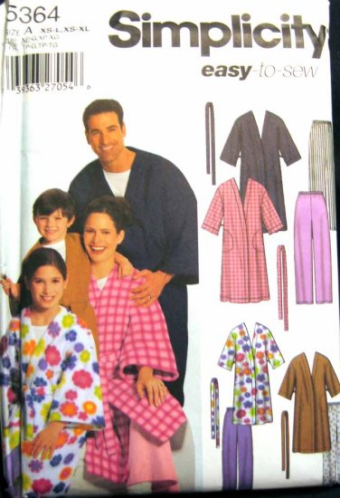 S5364 New Sewing Pattern Misses' Mens' Juniors' Kids' Child's Boys Girls Family Robe Lounge Pants