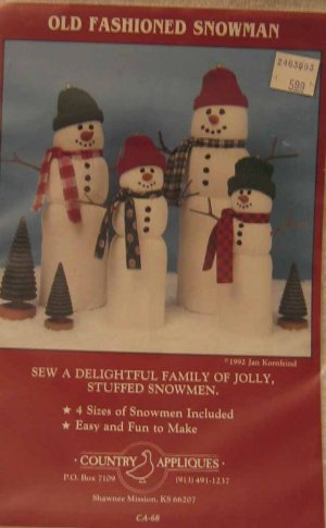 CA68 New Sewing Pattern Snowmen Holiday Winter Decorate Seasonal Snow Decor