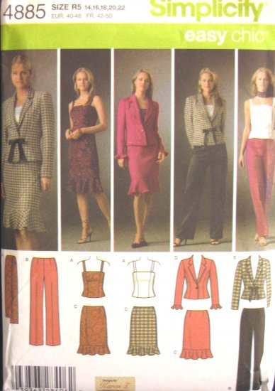 S4885 New Sewing Pattern Misses' Wardrobe Fitted Top Skirt Pant Jacket Scarf Size 14 16 18 20 22