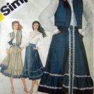 S5191 Sewing Pattern Prairie Skirt Blouse Quilt Vest Size 8