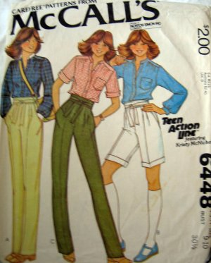 M6448 Sewing Pattern Top Pant Short Junior Teen Size 9 10