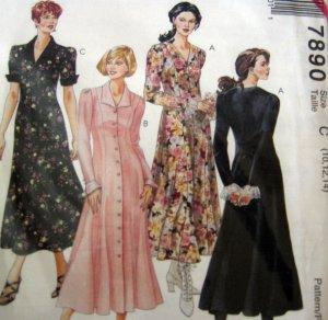 M7890 Sewing Pattern Dress Size 10 12 14 Sleeve Hem Neck Variations