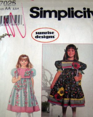 S7025 New Sewing Pattern Child Girl Dress Variations sz 2 3 4