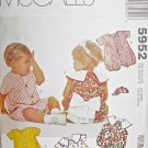 M5952 Sewing Pattern Small to Toddler Size Unisex Play Suit Romper with Variations