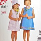 M3084 Sewing Pattern Child Girl Dress sz 2 3 4 5 Optional Trims, Hat