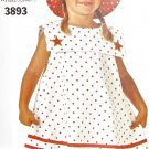 B3893 Sewing Pattern Child Girl Dress sz 5 6 6x Optional Trims, Hat