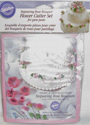 Wilton Brand Fondant Gum Paste Stepsaving Rose Bouquet Floral Cutter Set Cake Decoration
