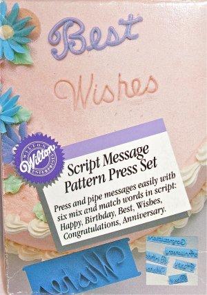 Wilton Brand Fondant Gum Paste Buttercream Message Imprint Press Set Cake Decoration