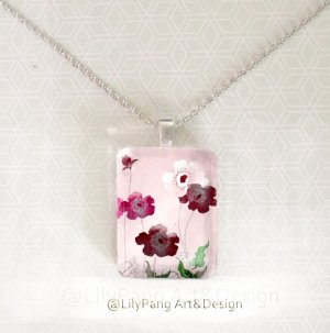 Poppies Pink Elegant Rectangle Glass Pendant