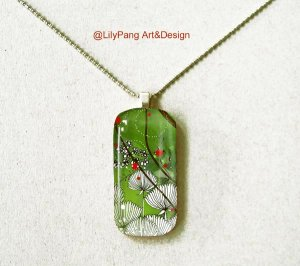 Spring Rectangle Glass Pendant