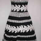 Cotton Black White Lace Dress, size 8