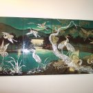Cranes and Tree Painting Laquer Art 4-Panels Décor, beautiful pearl like of sea shells embedded