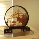 Miniature Carving Oriental Scenery in Glass Round Enclosure