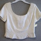 Women Top Silk Ivory Lite Tiny Beads Size 8