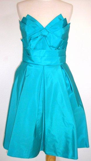 Taffeta Aqua Center Bow Dress, size 8 at jlpshop.com