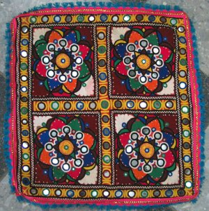 Hand-Embroidered, Mirrored Cushion Cover--TE-001