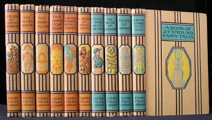 Complete Young Folks Library 10 Vol Thomas Aldrich 1938 HBs Fairy Tales MYTHS Legends FOLK Fantasy+