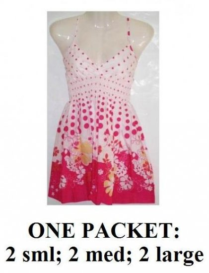 $6.00 PER PIECE, 6 dresses in a PACKET, Babydoll Pink Flower Dress, ONE packet has 2s,2m,2L