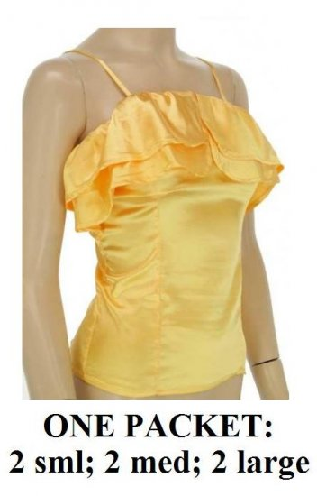 $6.25 PER PIECE; 6 tops in a PACKET; Yellow Ruffle Tank Top-2s,2m,2L