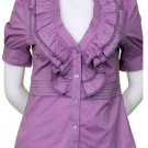 $6.25 PER PIECE; 7 tops in a PACKET; Lilac Purple Ruffle Top-2s,2m,2L,1XL