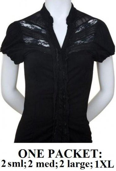 $6.25 PER PIECE; 7 tops in a PACKET; Lace and Ruffle Top (BLACK)- 2s,2m,2L,1XL