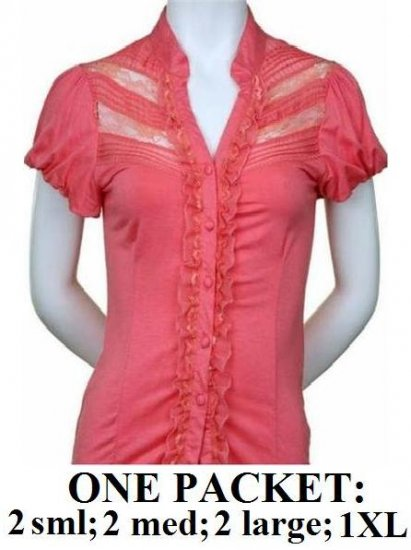 $6.25 PER PIECE; 7 tops in a PACKET; Lace and Ruffle Top (SALMON PINK)-  2s,2m,2L,1XL