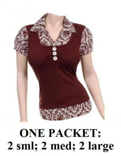 $6.25 PER PIECE; 6 tops in a PACKET; Brown Pattern Collar Top - 2s,2m,2L