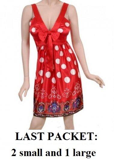 $7.50 PER PIECE; 3 dresses in a PACKET; Red Polka Dot Dresss- 2s,2m,2L