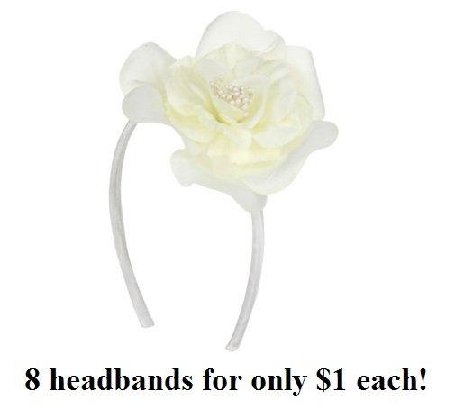$1.00 PER PIECE; ALL WHITE Rose headband (8 pieces)