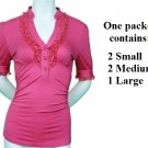 $6.25 PER PIECE; 5 tops in a PACKET; Fitted Hot Pink Ruffle Top, 2s,2m, 1L