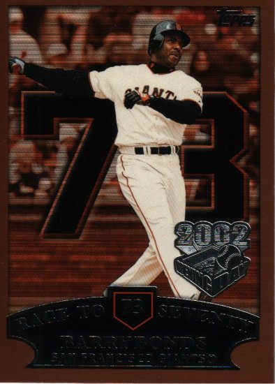 Barry Bonds Topps Opening Day 2002 Card #73 HR 73 San Francisco Giants Baseball Cards