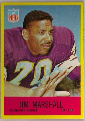 1967 Philadelphia Jim Marshall #103 Vikings Football Card, cards