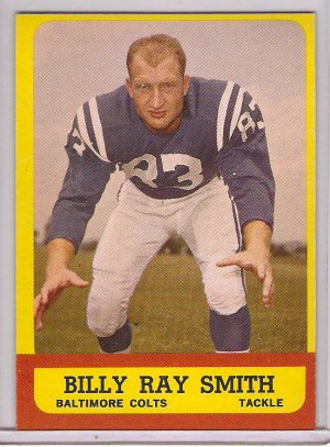 1963 Topps Billy Ray Smith #9 Baltimore Colts Rookie Football Card, cards