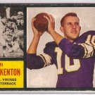 1962 Topps Fran Tarkenton Minnesota Vikings #90 Rookie Football Card, cards