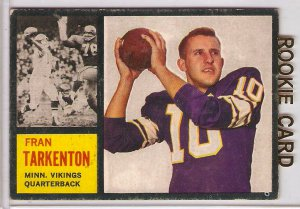 1962 Topps Fran Tarkenton Minnesota Vikings #90 Rookie Football Card, cards