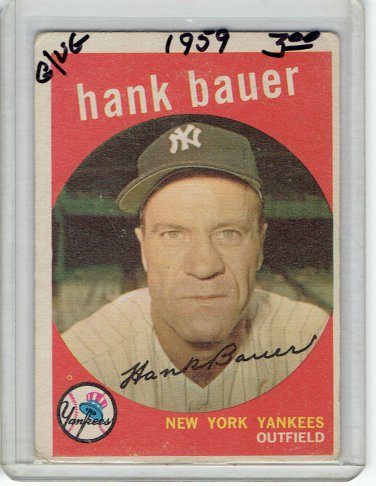 1959 Topps Hank Bauer New York Yankees Baseball Card, cards