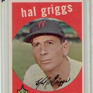 1959 Topps Hal Griggs #434 Washington Senators Baseball Card, cards