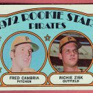 1972 Topps Fred Cambria and Richie Zisk #382 Rookie Stars Pittsburg Pirates Baseball Card, cards