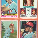 1976 Topps Philadelphia Phillies Four Card Lot