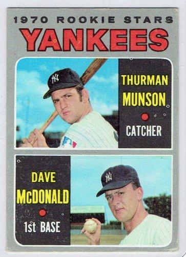 Topps 1970 Thurman Munson #189 New York Yankee Baseball Rookie Card, cards