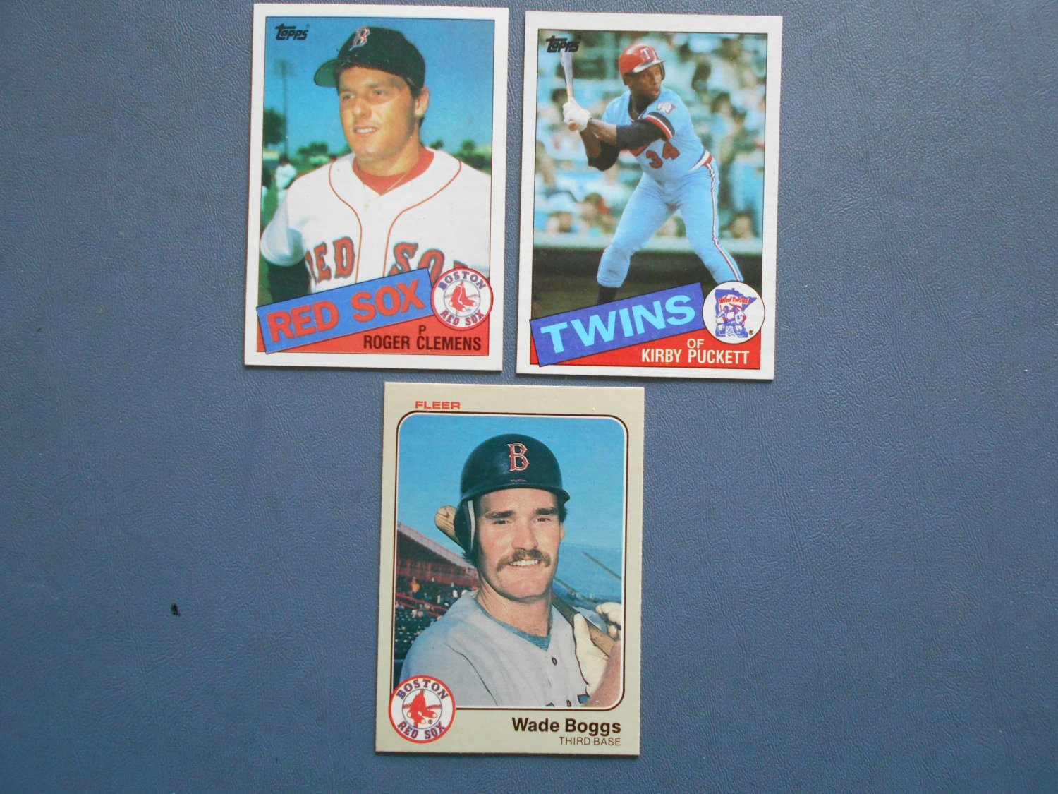 Boggs Clemens Puckett Rookie Cards 3 Card Lot Nrmt To Mint