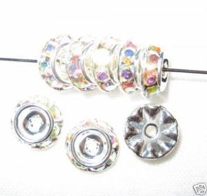 10 Swarovski Rondelle Buttom 10mm Sil/Crystal AB CM1003